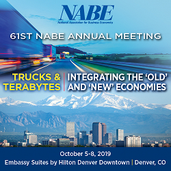"61st NABE Annual Meeting  ""Trucks and Terabytes: Integrating the 'Old' and 'New' Economies"" October 5-8, 2019 Embassy Suites by Hilton Denver Downtown Denver, Colorado  Arranged around the theme of ""Trucks & Terabytes: Integrating the 'Old' and 'New' Economies,"" the conference will explore how technology and innovation are transforming businesses and creating new marketplaces while long-standing diplomatic and commercial alliances are being tested by global political shifts. The implications for productivity, the future of work, supply chains, and trade flows all will be addressed."